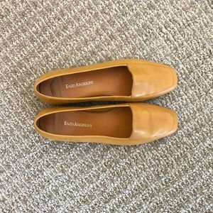 Enzo Angiolini Yellow Leather Flats Shoes Women's